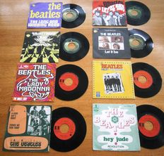 The Beatles: Lot Of  Eight (8) Very Collectable  and Wanted French Singles in Original Photocovers from the late 60's and the 70's In VG++/ Excellent/Near Mint Condition.