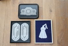 A lot consisting of three lace works - framed - Belgium - first half of 20th century