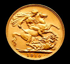 United Kingdom - Gold sovereign coin, King Edward VII, year 1910.