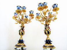 Pair of candle holders in Sevres style, late 20th century