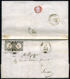 Neapolitan Provinces – 1862 – Letter from Potenza to Senise – two values, 1 gr., black – Former Riviello collection – Sassone no. 19 cm.
