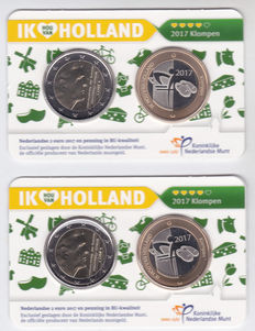 The Netherlands – 2 Euro 2017 'Clogs' (2 pieces) with consecutive numbers in Coincards