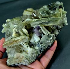 Large Fluorescent Apatite Crystals With Star Mica & Quartz  -  140 x 105 x 60 mm - 1068gm