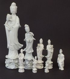 Lot of blanc de chine statues of Guanyin - China - second half 20th century