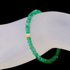 Bracelet of transparent emeralds with 18 kt/750 yellow gold clasp
