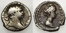 Roman Empire - Lot of 2 silver denarius - 1st- Trajan denarius 98-117 AD / 2nd- Diva Faustina I, (141-146 AD), minted in Rome, AETERNITAS.