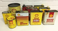 Collection of Shell oil cans