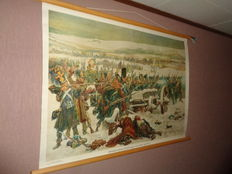 """Beautiful old school poster on linen by Isings. With Napoleon. """"Dutch infantry crossing the bridges over the Berezine in 1812""""."""