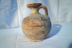 Greek wine jar with red frame - dimensions: height 130mm
