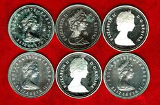 Canada. Lot of six 1 dollar coins in silver. 1978 (x3), 1982, 1983 & 1984.