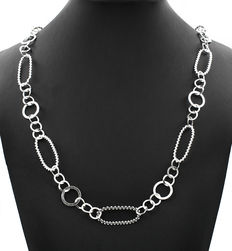 Sterling silver choker with oval motifs.