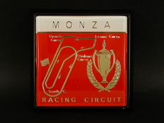 Vintage Monza Racing Circuit Italy Renamel 70's 80's Metal Car Badge in Superb Condition 8 cm x 8 cm approx