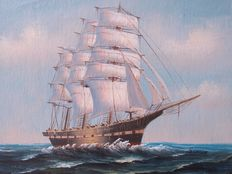 Oil on canvas painting of a three masted clipper - 20th century