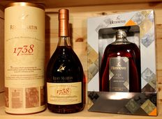 2 bottles of Top Cognac: 1. Remy Martin 1738, incl Box + 2 Hennessy Fine Cognac, Limited Edition, 2016, 2x70cl/700ml