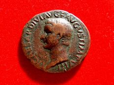 Roman Empire - Tiberius (14 - 37 A.D.), bronze as (10,19 g. 28 mm). Rome mint, 22 -23 D.C. PONTIF MAXIM TRIBVN POTEST XXIIII. Large S/C.