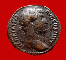 Roman Empire - Hadrian (117 - 138 A.D.), bronze as ( 11,66 g. 26 mm) from Rome mint. 134-138. ANNONA AVG. High quality.
