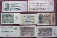 Lot of 50 genuine banknotes and coupons from the interwar years between World War I and II, a variety of old German Reich banknotes with incredible face values of millions and billions.