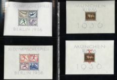 German Reich 1936/1937 – Selection of 4 blocks with the Summer games, among other things – Michel 4x, 5x, 6 and 10