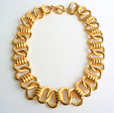 Beautiful Vintage Signed ANNE KLEIN Gold Tone Chunky Link Chain Necklace