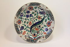 A large Iznik-Style Pottery Dish, Belgium, Boch Freres, early 20th century