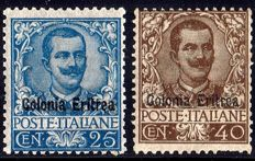 Italy, Colonies, Eritrea, 1903 - Two key stamps - 25 c. + 40 c. - Overprinted (24 + 25) - MLH - Cilio certificate
