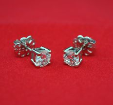 Superb Diamond (total 1.00ct) & White Gold Stud Prong Setting Earrings each with HRD Certificate