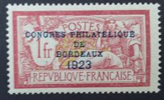 France 1923 - Philatelic Congress of Bordeaux, signed Calves with digital certificate - Yvert no. 182