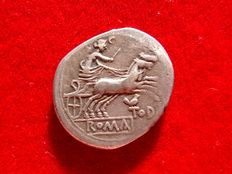 Roman Republic - Anonymous silver denarius (3,83 g. 21 mm), Rome mint, 189-180 B.C. Luna in prancing biga right below, TOD with bird perched on T. Rare coin.
