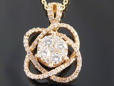Rose gold pendant set with 89 brilliant cut diamonds of 0.70 ct in total