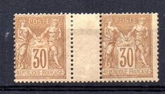 France 1881 – Pair Sage 30c yellow-brown with gutter – Yvert n° 80