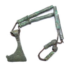 Viking decorated bronze broad axe pendant attached to a bracelet - 235 mm
