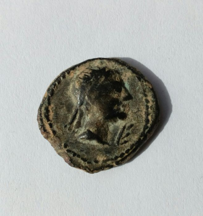 Ancient Hispania – Castulo (AE) semis (2.8 g, 17 mm) – Cazlona mint (Jaen) – 180 B.C., epoch of Augustus
