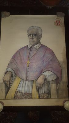 Large pastel of Bishop - 20th century.