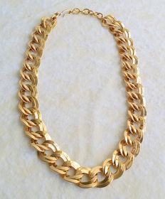 Stunning Vintage MONET Gold Tone Double Wave Link Chunky Chain Necklace
