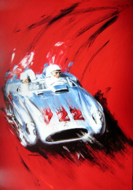 Mercedes-Benz #722 Mille Miglia 1955 - Moss/Jenkingson - Artist Klaus Wagger