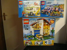 City / Creator - 4433 + 7639 + 31012 - Dirt Bike Transporter + Camper + Family House