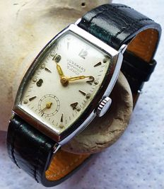 JUNGHANS Art Deco 15 rubies -- unisex wristwatch from the 1940s -- rare collectors' piece