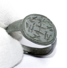 """Rare Medieval religious seal ring with inscribed bezel - """"IHS"""""""