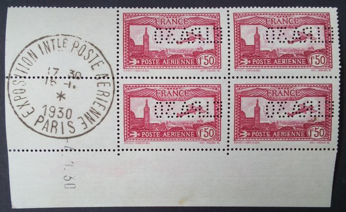 France 1930 – Airmail, 1.50 fr,   carmine, perforated, EIPA 30, block of 4, dated corner, signed Calves-Roumet with Roumet certificate – Yvert no. 6d