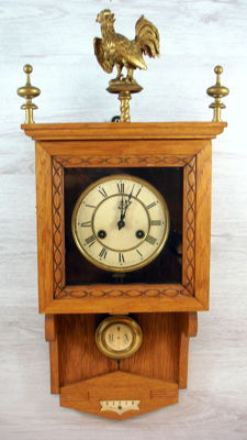 Oak wall clock, with rooster ornament, 2nd half of the 20th century