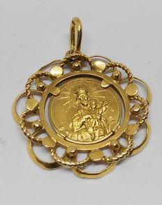 18 kt yellow gold medallion - Virgen del Carmen