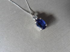 18k Gold Sapphire and Diamond Pendant