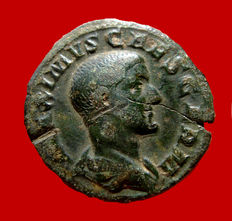 Roman Empire - Maximus caesar (236-238) bronze as ( 10,08 g. 25 mm.) minted in Rome. 235-236 A.D.PIETAS AVG. Sacrificial implements.