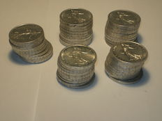 France – 5 Francs 'Semeuse' 1960/1966 (lot of 50 coins) – Silver