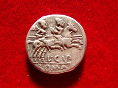 Roman Republic - L. Cupiennius silver denarius (4,03 g 18 mm)  minted in Rome, 147 B.C. The Dioscuri galloping right.. L.CVP. ROMA.