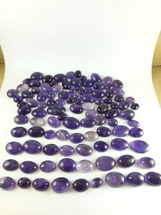 Mixed, untreated Amethyst cabochons - 10 to 19mm - 192gm  (100)