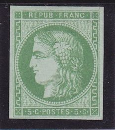 France 1870 - Bordeaux Type Yvert no. 42A with SCHELLER certificate