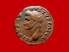 Roman Empire - Divus Augustus (died in 14 A.D.) bronze dupondius (10,10 g. 25 mm.). Rome mint, 82 A.D. Restitution issue struck under Domitian. IMP D CAES AVG RESTITVIT. Eagle.