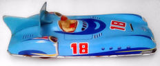 Joustra, France - Length 28.5 cm - race car made of sheet metal with friction, 60s