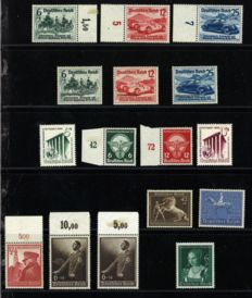 German Reich 1939 – Consecutive emission including Gallop running, Nurburgring and International Auto Exhibition – Michel 686/701